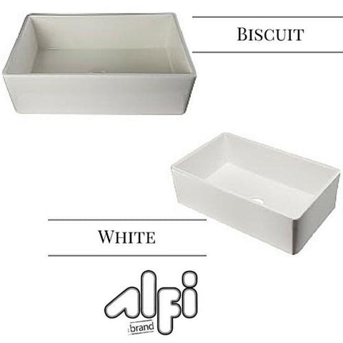 "Alfi Brand AB533 33"" White Single Bowl Fluted Fireclay Farm Sink"