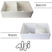 "ALFI brand AB537 32"" Fluted Double Bowl Fireclay Farmhouse Kitchen Sink"