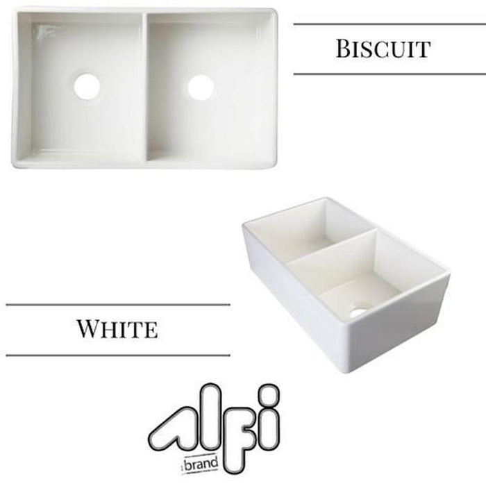 ALFI Brand AB538 Double Bowl Smooth Fireclay Farmhouse Apron Kitchen Sink