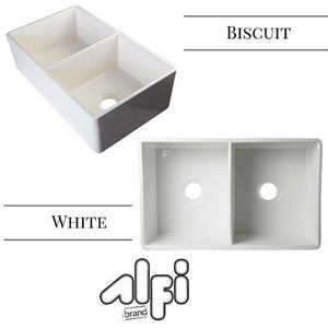 "ALFI brand AB539 32 3/4"" Lip Double Bowl Fireclay Farmhouse Apron Kitchen Sink"