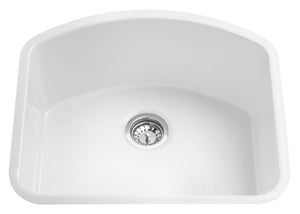 "ALFI brand AB2417C 24"" White Fireclay Undermount D-Shaped Kitchen Sink"