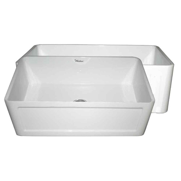 "Whitehaus WHPLCON2719 Farmhaus Fireclay Reversible 27"" Sink with Front Apron"