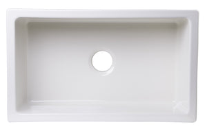 "ALFI brand AB3018UM-B  30"" x 18"" Undermount Biscuit Fireclay Kitchen Sink"