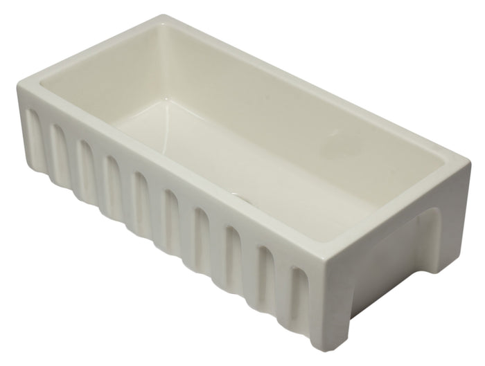 ALFI brand AB3618HS 36 Inch Reversible Smooth / Fluted Single Bowl Fireclay Farm Sink
