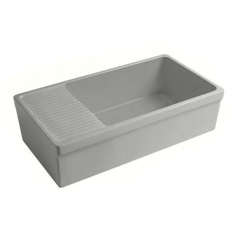 Whitehaus WHQD540-M Farmhouse Quatro Alcove Large Fireclay Kitchen Sink