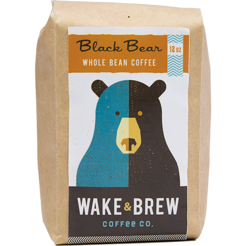Black Bear 12oz Whole Bean Coffee 100% Arabica Whole Bean Coffee Roasted Fresh Buy Online Flat Rate Shipping Free Shipping Over $35 United States USA Fast Shipping - Wake & Brew Coffee Co.