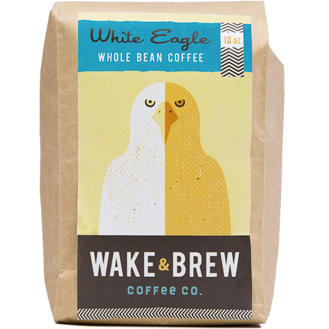 White Eagle 12oz Whole Bean Coffee 100% Arabica Whole Bean Coffee Roasted Fresh Buy Online Flat Rate Shipping Free Shipping Over $35 United States USA Fast Shipping - Wake & Brew Coffee Co.