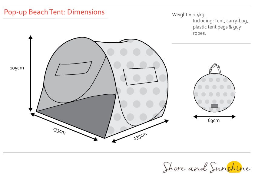 Tent Dimensions Shore And Sunshine