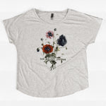 Melody League Flowers Scoop Neck Gray