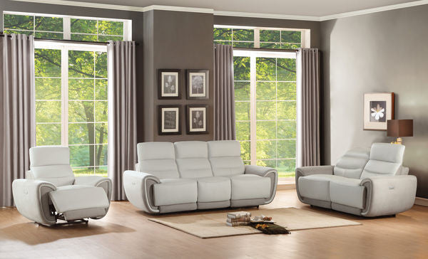 Top Gain Leather and Fabric Sofa Set