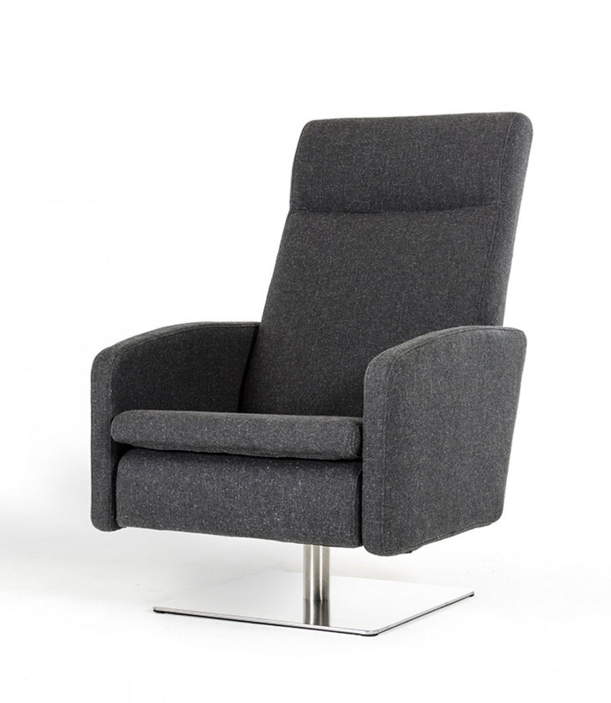 Divani Casa Abbot Modern Fabric Reclining Lounge Chair Doria