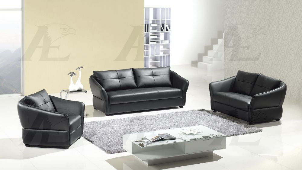 Marvelous Ae348 Black Faux Leather Sofa Set Pdpeps Interior Chair Design Pdpepsorg