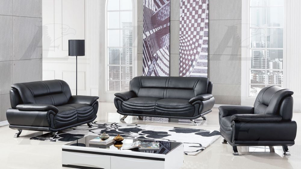 Phenomenal Ae388 Black Faux Leather Sofa Set Pdpeps Interior Chair Design Pdpepsorg