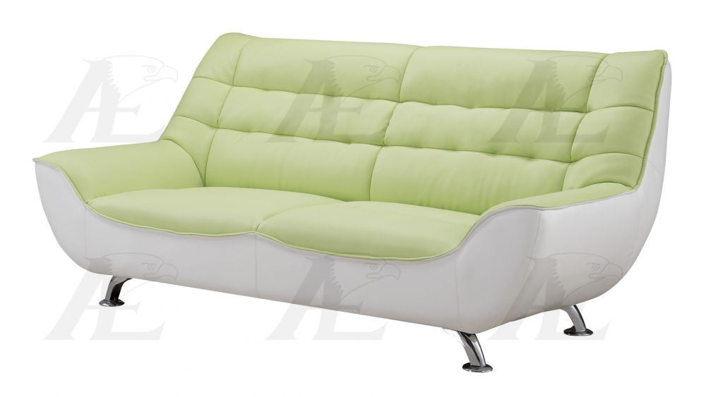 Superb Ae612 Green And White Faux Leather Sofa Set Dailytribune Chair Design For Home Dailytribuneorg