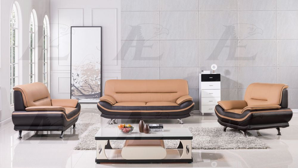 AE709 Yellow and Brown Faux Leather Sofa Set