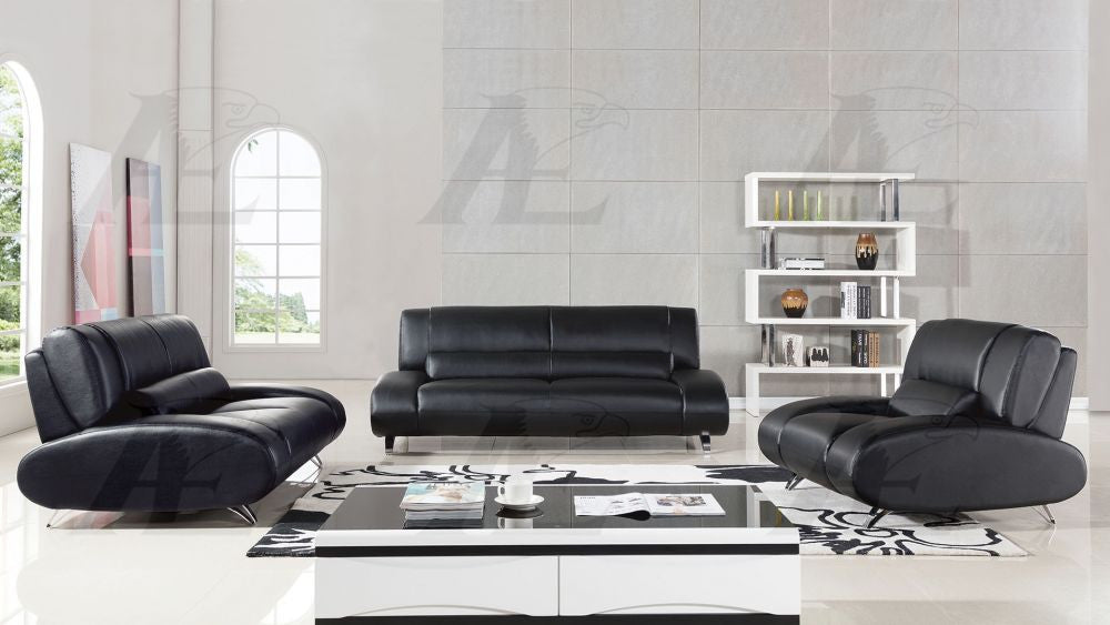 Outstanding Ae728 Black Faux Leather Sofa Set Pdpeps Interior Chair Design Pdpepsorg