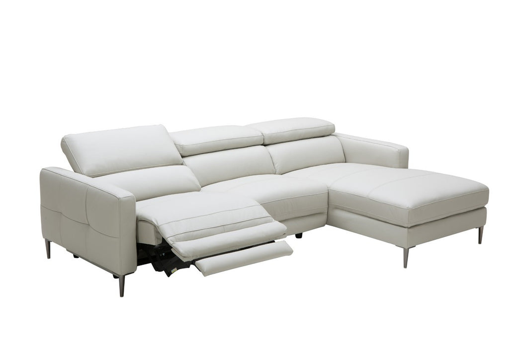 Divani Casa Booth Modern Light Grey Leather Sectional Sofa w/ Electric  Recliner