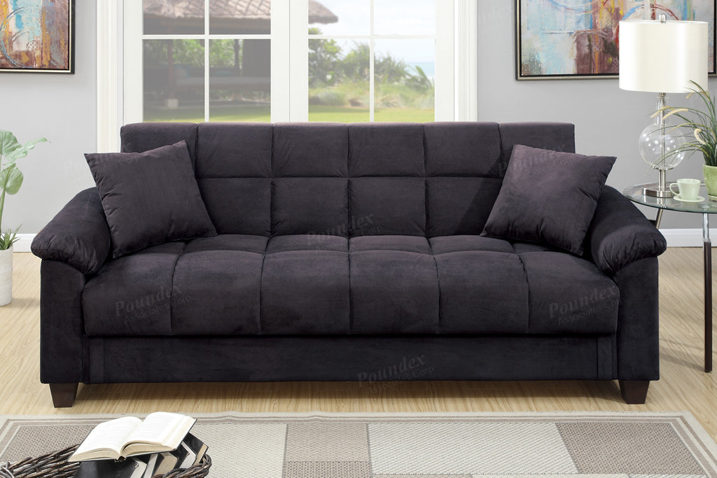 F7888 Ebony Convertible Sofa Futon – Doria Furniture & Mattress Outlet