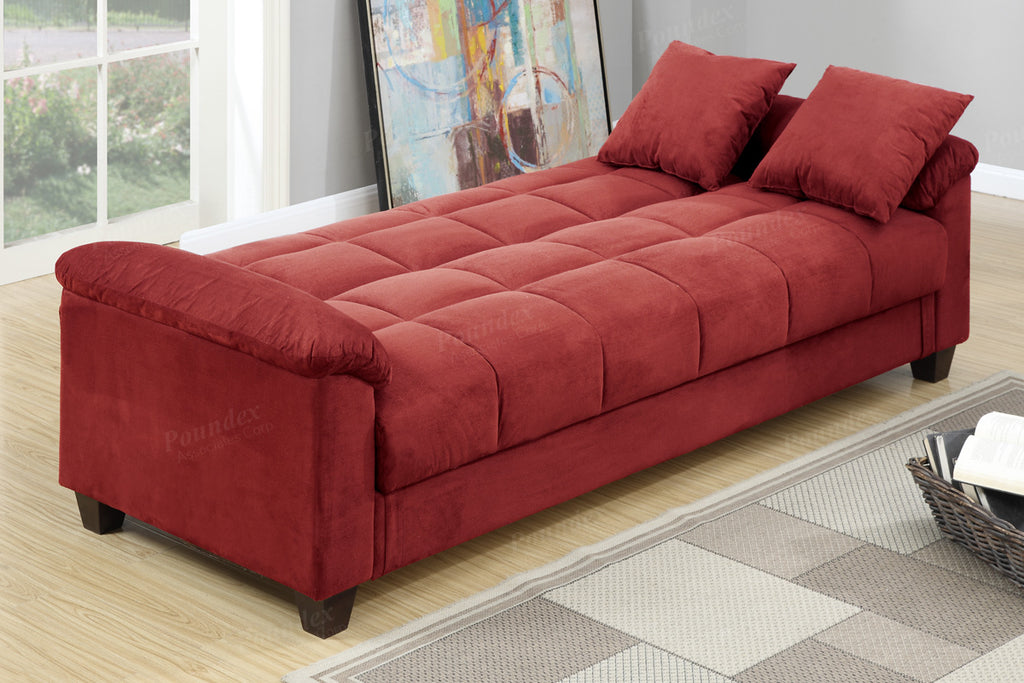 F7890 Red Convertible Sofa Bed By Poundex Doria Furniture Mattress Outlet