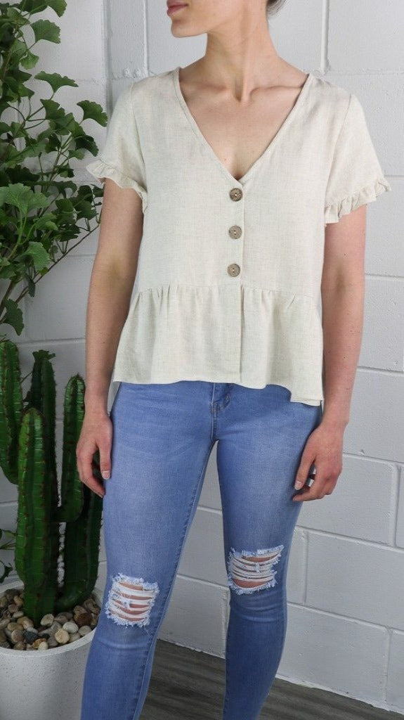 Beige Linen Cotton Button Up Top