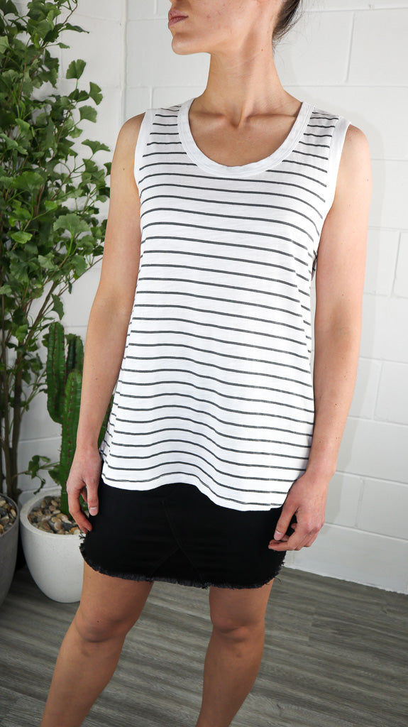 3rd Story Madison Tank - Navy Stripe
