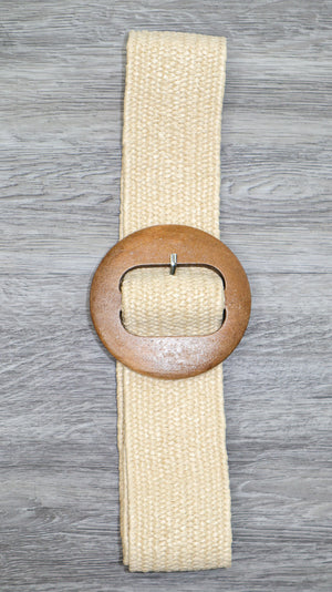 Nude Elastic Belt With Round Buckle