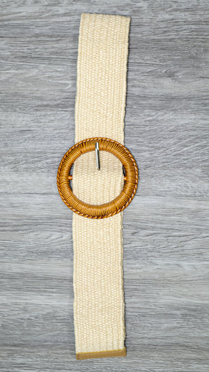 Natural Round Textured Buckle Belt