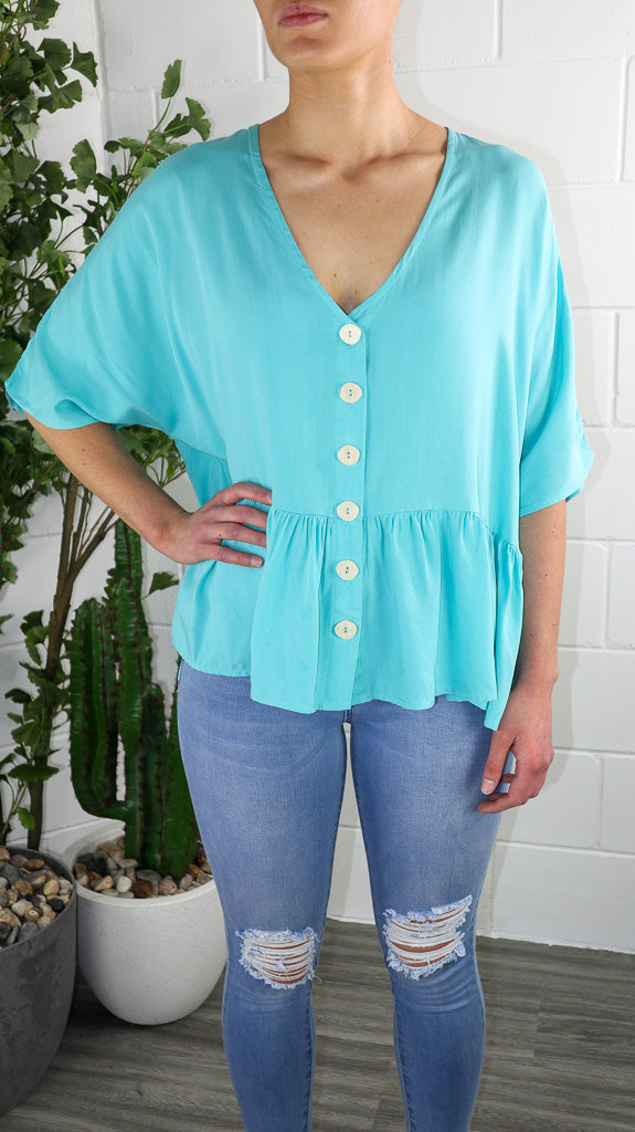 Costa Button Top - Aqua