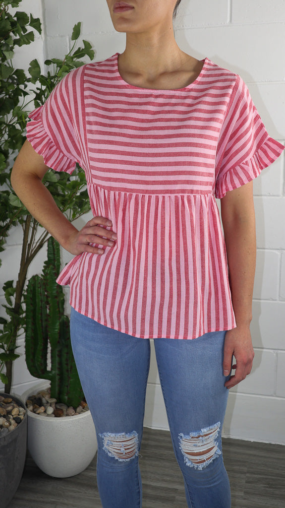 Maz Pink Stripe Top