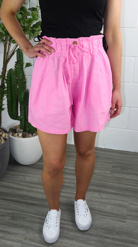 Lux Linen Shorts - Pink