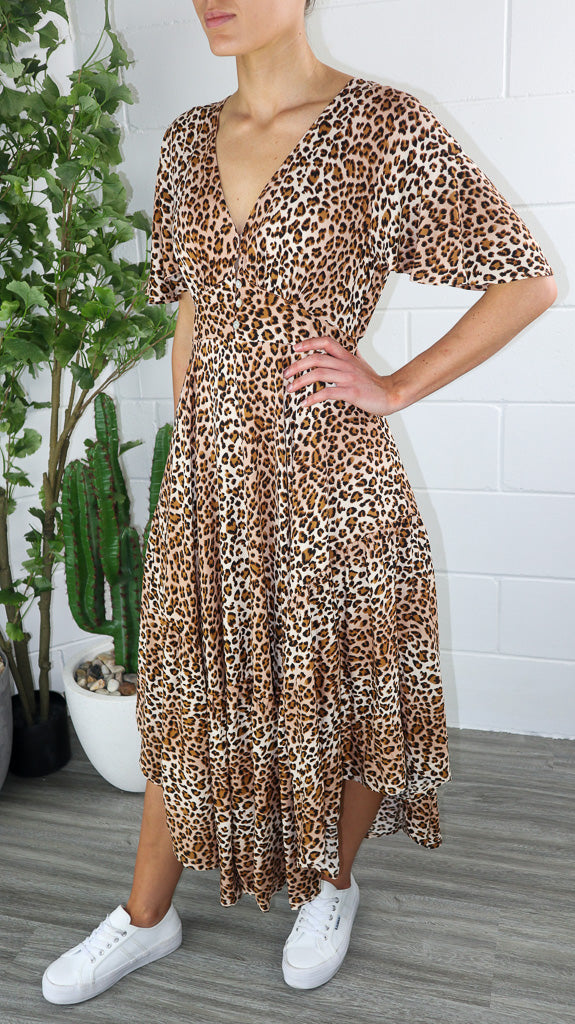 Sangria Maxi Dress - Leopard Printed