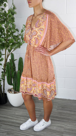 Zola Dress Orange Multi Print