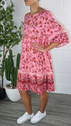 Kimmy Dress - Pink Multi Printed