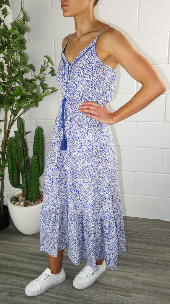 Austin Dress - Blue Printed