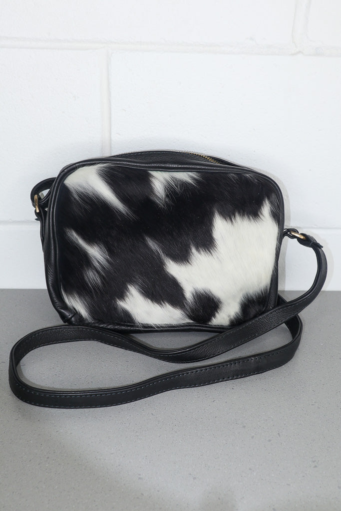Black - Young Leather/Cowhide Crossbody Bag