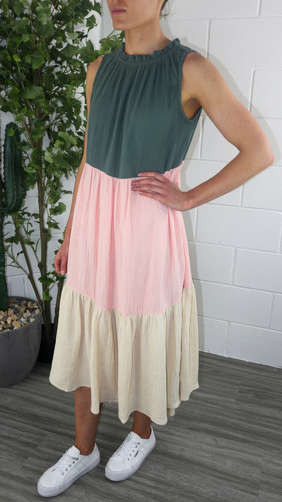 Elly Dress - Khaki/Pink/Beige