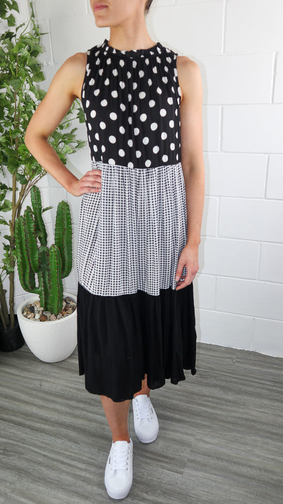 Elly Dress - Black & White Spot