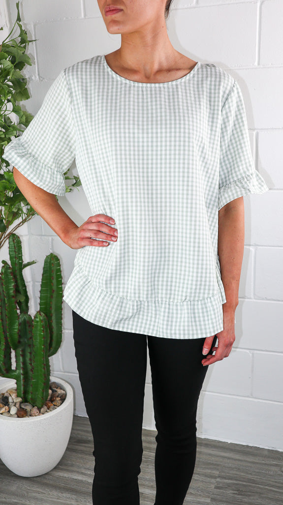 Jat Top - Sage Gingham