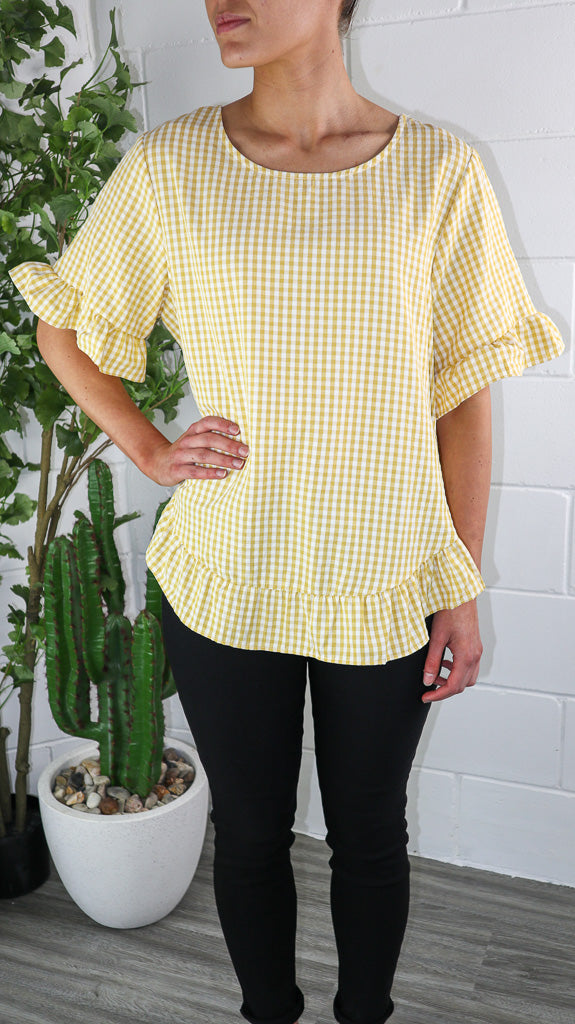 Jat Top - Mustard Gingham