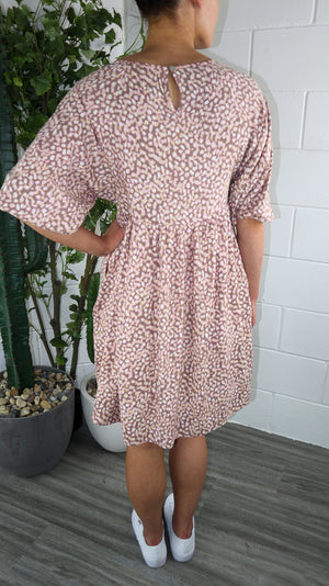 August Dress - Brown Printed
