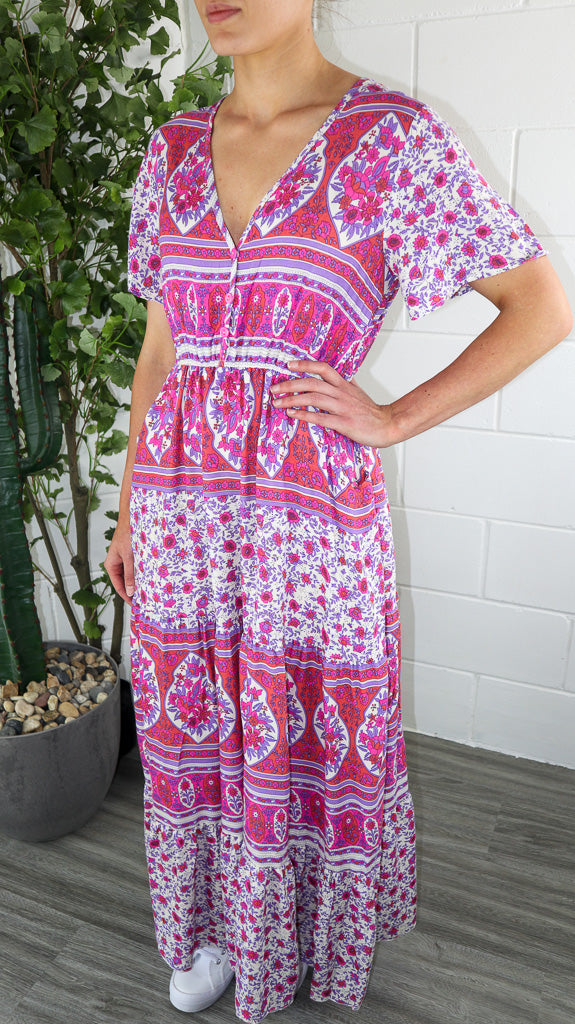 Piper Maxi Dress - Pink & Purple Multi Printed