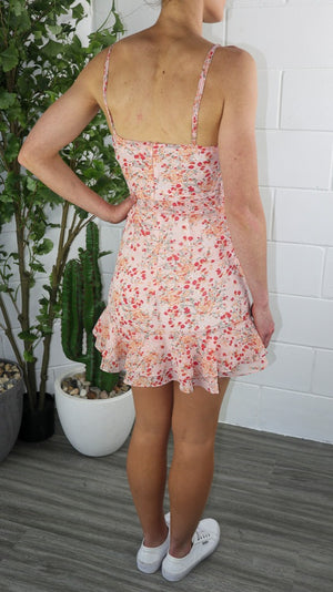 Bibbly Dress - Peach Printed