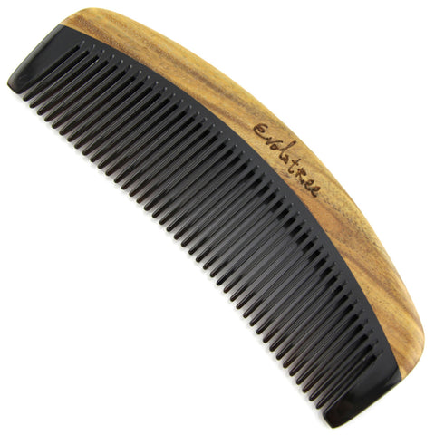 Evolatree - Elegant Natural Handcrafted Comb - Fine Tooth - Lignum Vitae Wood & Ox Horn - 6""