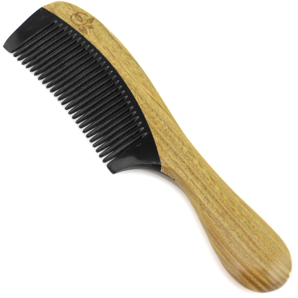 Evolatree - Elegant Natural Handcrafted Comb - Fine Tooth - Lignum Vitae Wood & Ox Horn - 7""