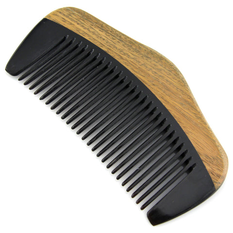 Evolatree - Elegant Natural Handcrafted Comb - Fine Tooth - Lignum Vitae Wood & Ox Horn - Pocket Size - 4.25""