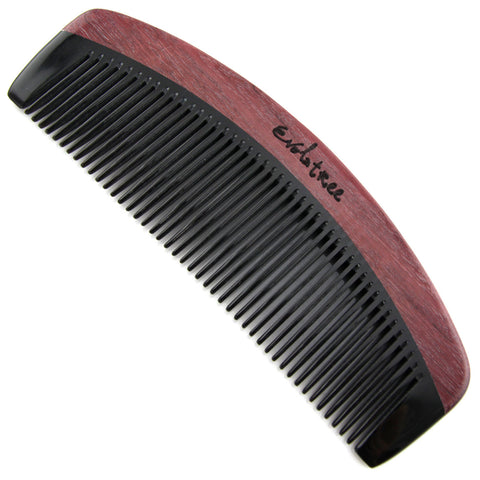 Evolatree - Elegant Natural Handcrafted Comb - Fine Tooth - Purpleheart Wood & Ox Horn - 6.25""