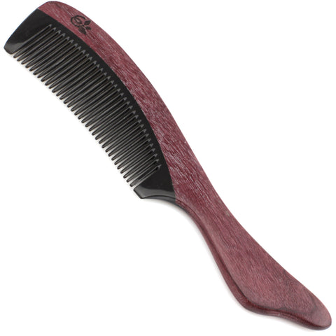 Evolatree - Elegant Natural Handcrafted Comb - Fine Tooth - Purpleheart Wood & Ox Horn - 7""