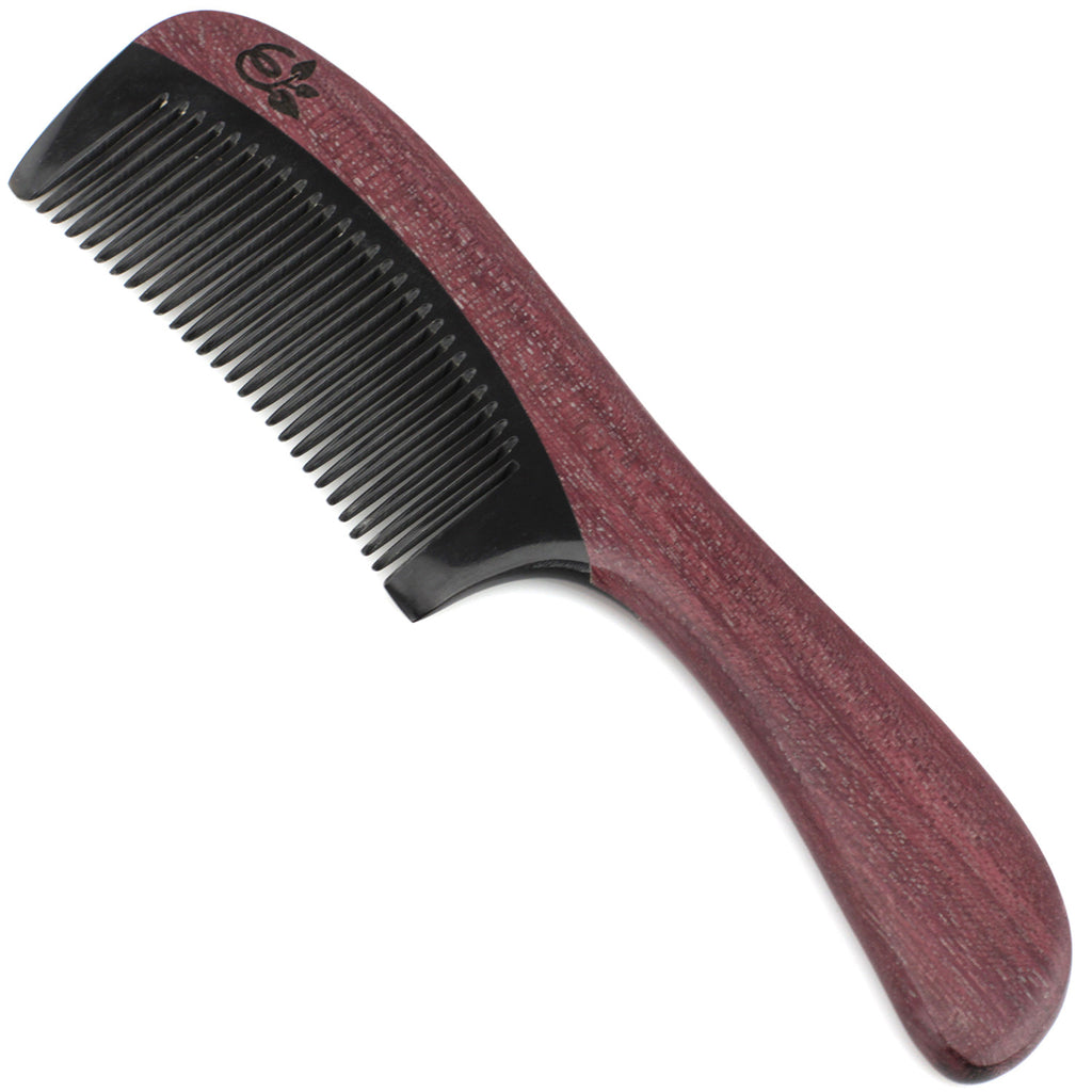 Evolatree - Elegant Natural Handcrafted Comb - Fine Tooth - Purpleheart Wood & Ox Horn - 8""
