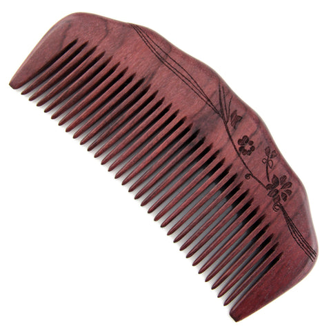 Evolatree - Elegant Natural Handcrafted Comb - Fine Tooth - Purpleheart Wood - 4.75""