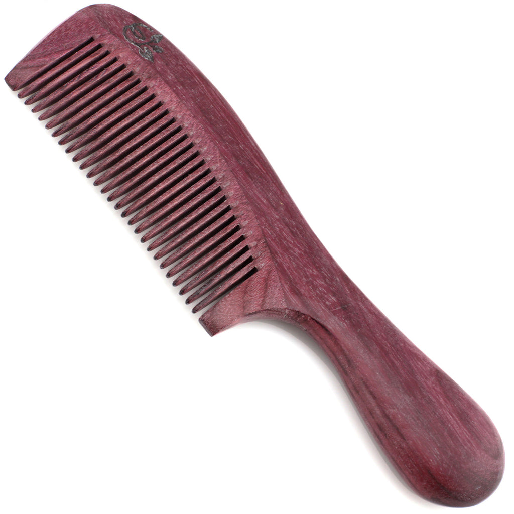 Evolatree - Elegant Natural Handcrafted Comb - Fine Tooth - Purpleheart Wood - 7""